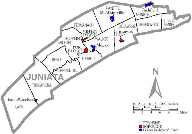 File:Map of Juniata County Pennsylvania With Municipal andjuniata township