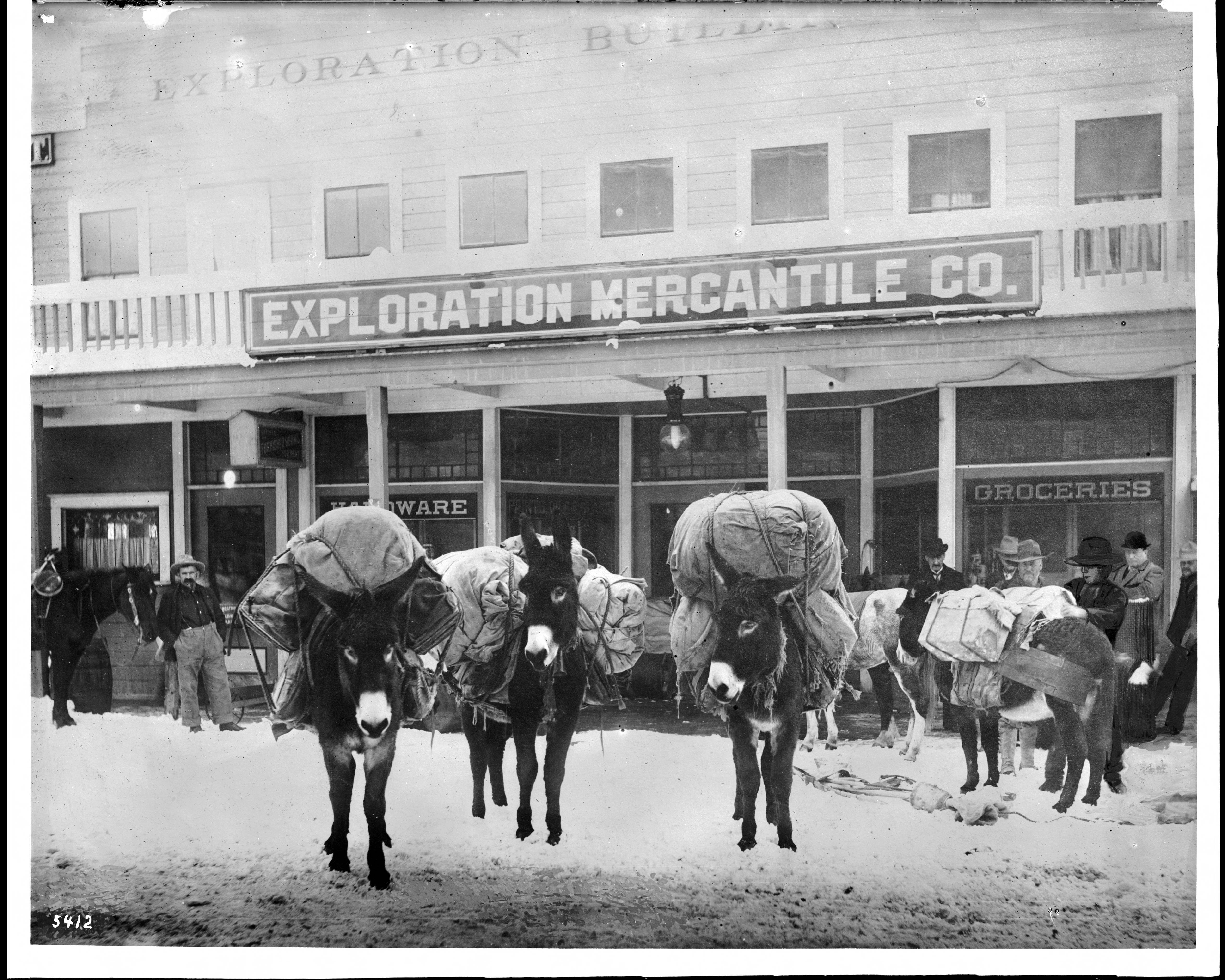 FileMiners Pack Animals In Front Of Mining Supply Stores Goldfield Nevada Ca1900 CHS 5412