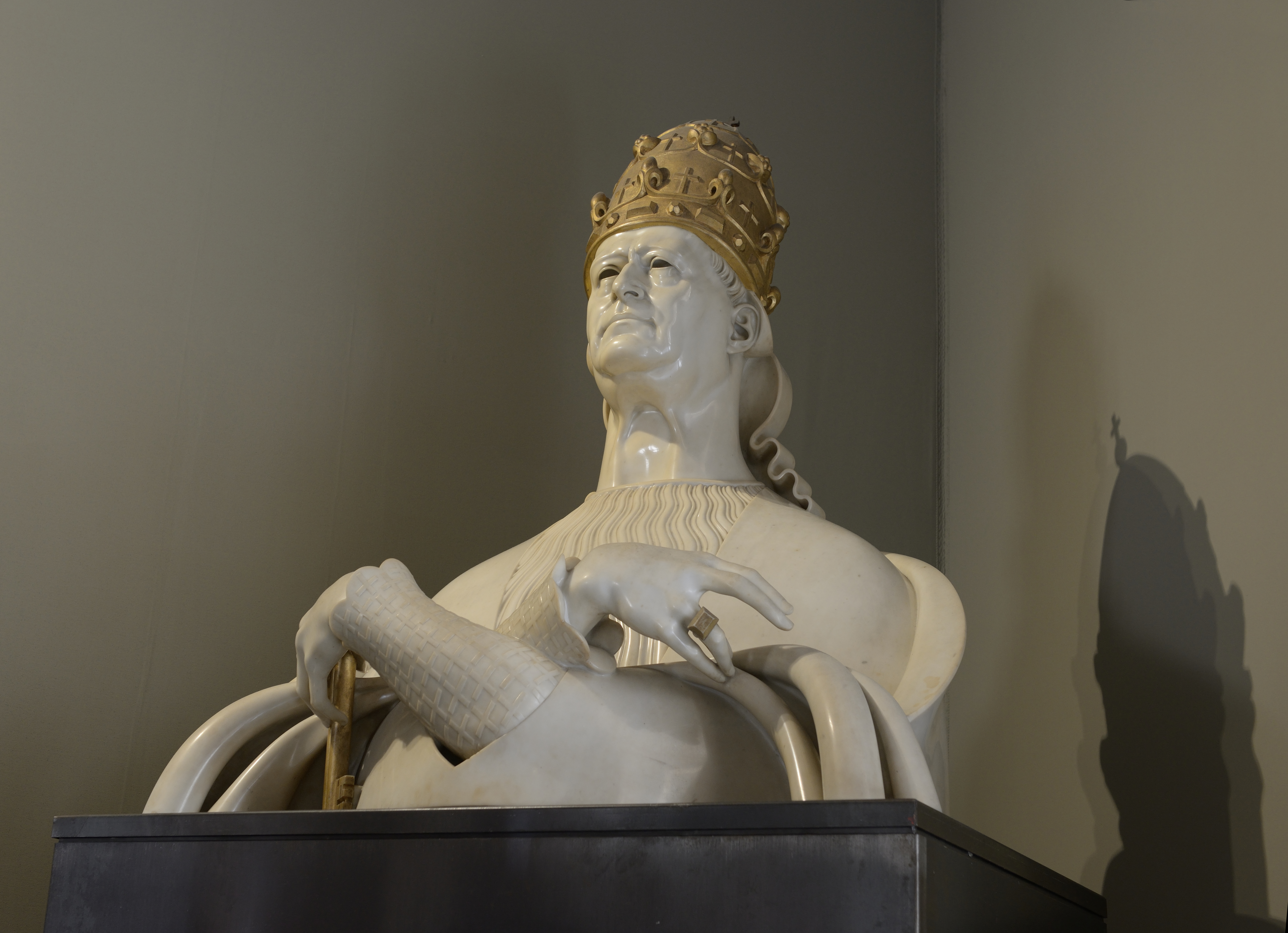 Pope Pius XI in a portrait by Adolfo Wildt exposed in the Vatican Museums  in Rome.