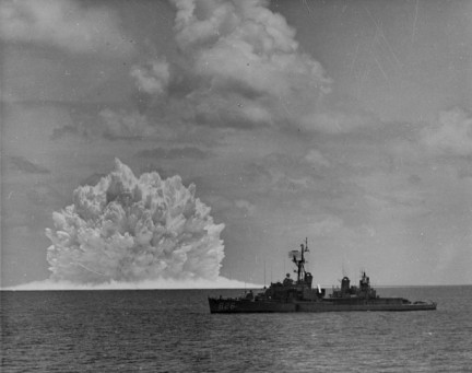 USS Agerholm (DD-826) launched an ASROC anti-submarine rocket, armed with a nuclear depth bomb, during the Swordfish Test of 1962 Nuclear depth charge explodes near USS Agerholm (DD-826), 11 May 1962.jpg