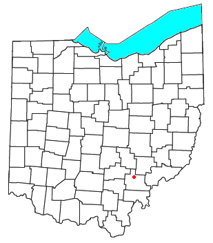 Location of Millfield, Ohio