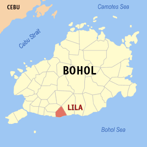Map of Bohol showing the location of Lila