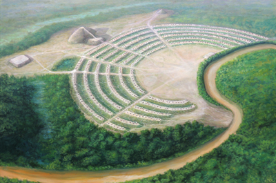 Artist's reconstruction of Poverty Point, 1500 BCE Poverty Point Aerial HRoe 2014.jpg