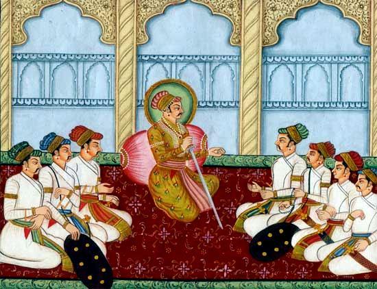 File:Repesentative painting of Raja Sagar with his ministers at Delwara.  Photo Rajput dynasties Google.jpg - Wikimedia Commons