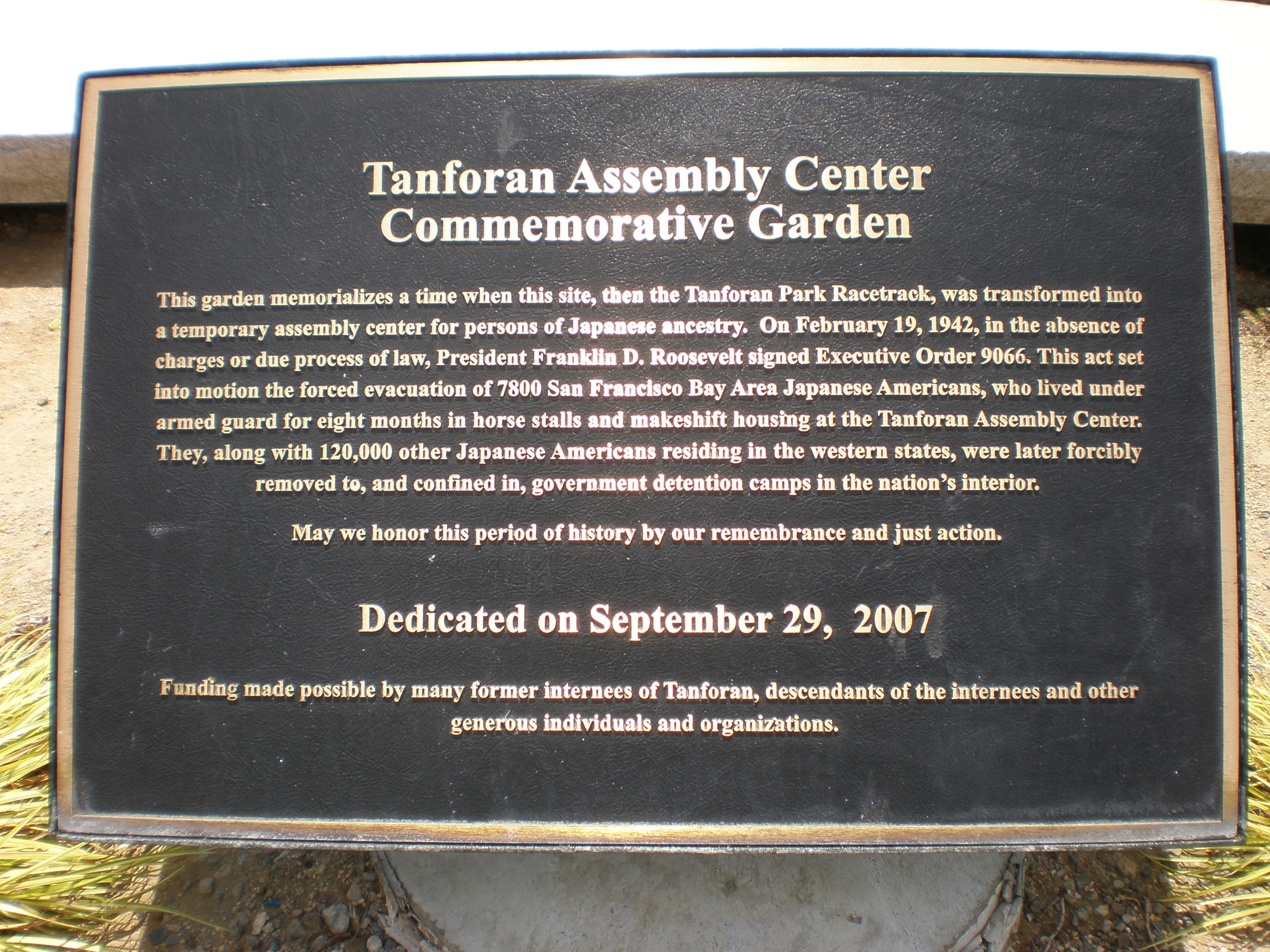FileShops at Tanforan Commemorative Garden plaqueJPG Wikimedia