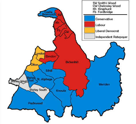 Map of the results for the 1990 Solihull council election.