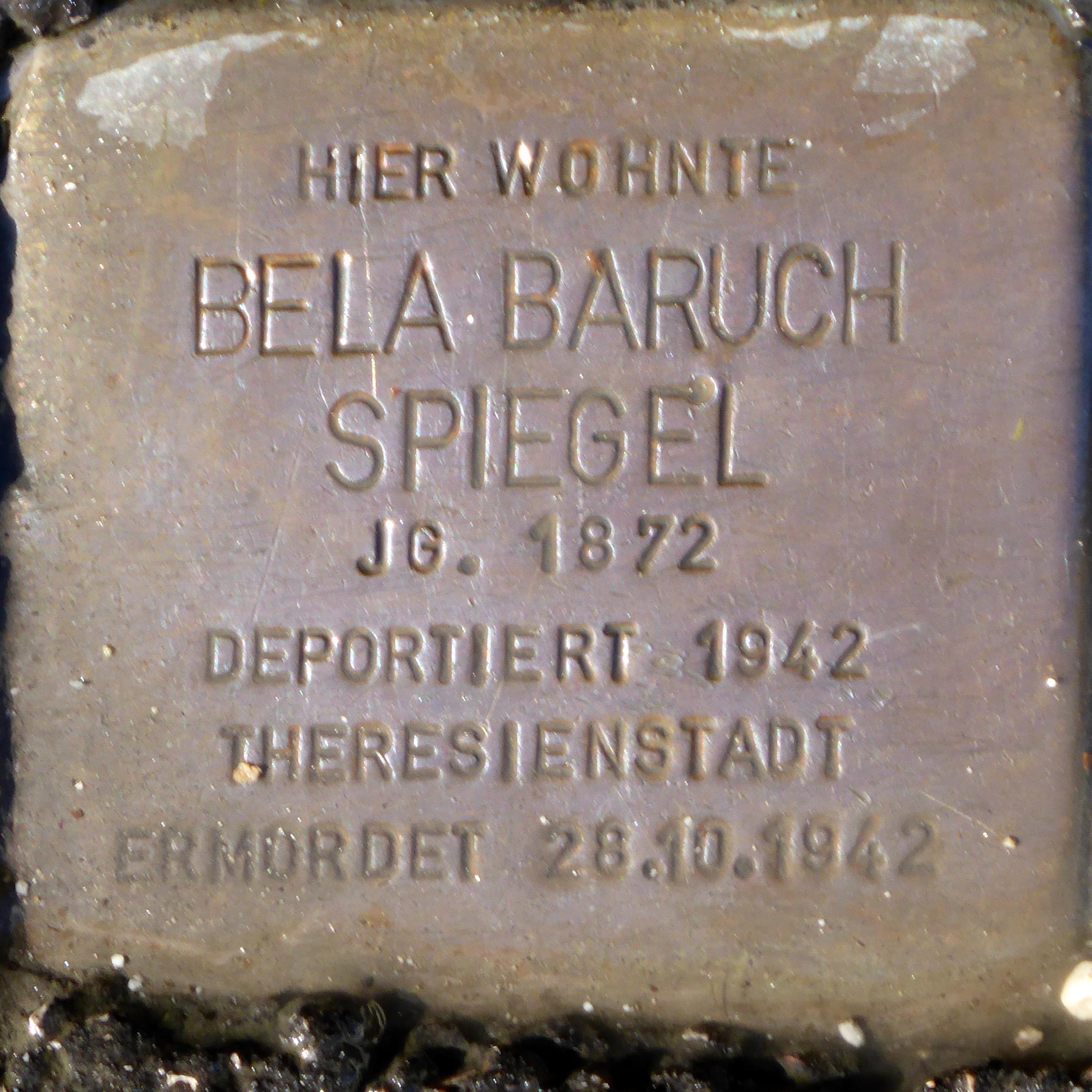 File stolperstein salzburg bela baruch spiegel for Spiegel history