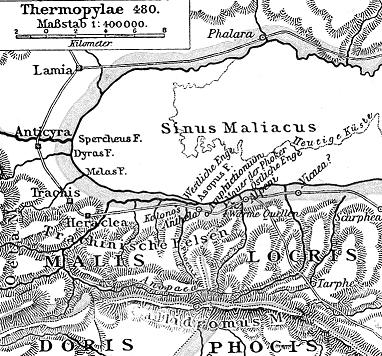 El desfiladero de las Termópilas, pequeño paso que limitaba en un extremo con el Golfo Malíaco y en otro con los montes Oeta y Calídromo. Comunicaba Locria con Tesalia.