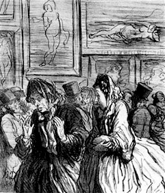 Caricature (French bourgeoisie): This Year Venuses Again… Always Venuses!. Honoré Daumier, No. 2 from series in Le Charivati, 1864.