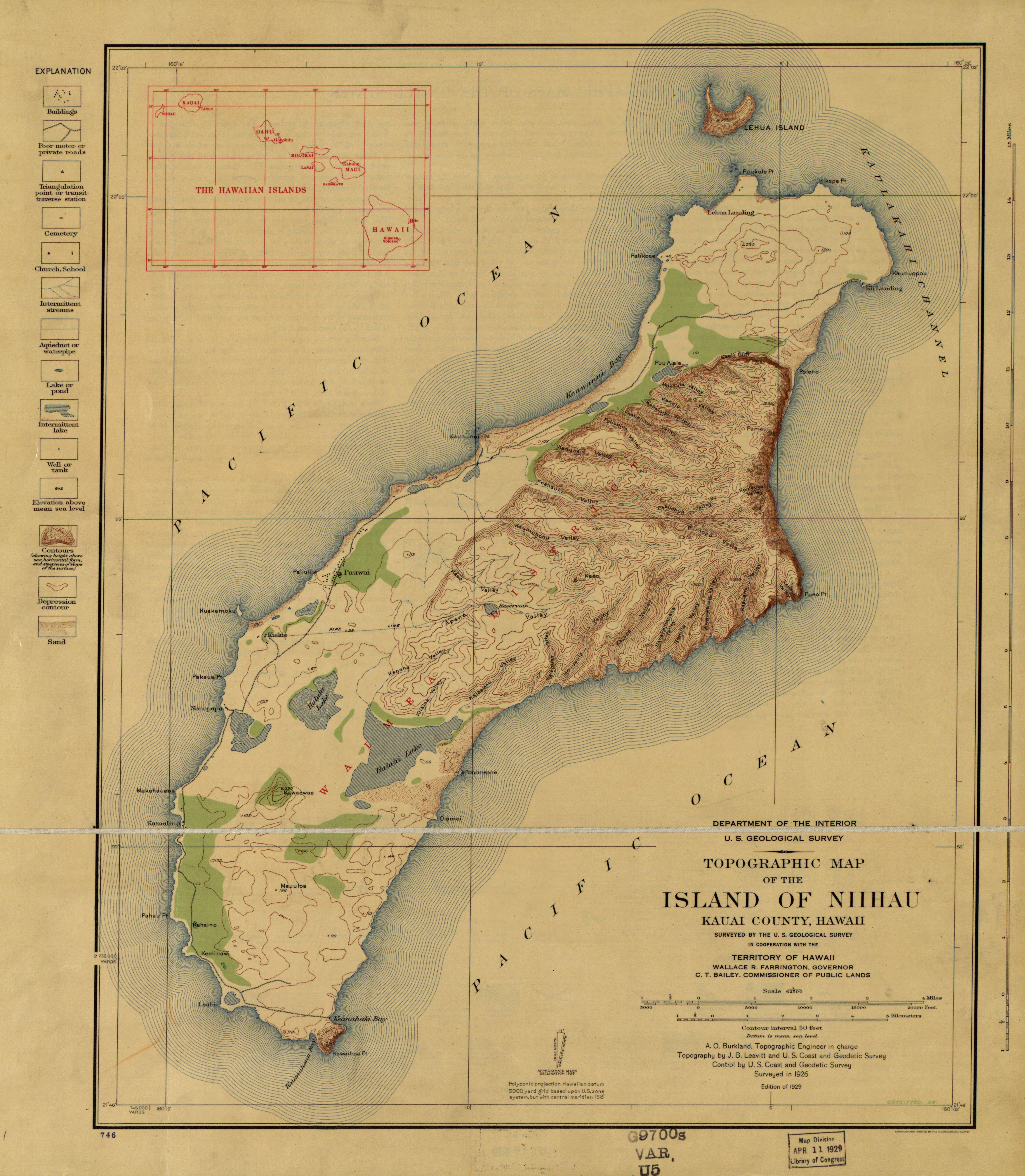 File Topographic Map Of The Island Of Niihau Kauai County Hawaii