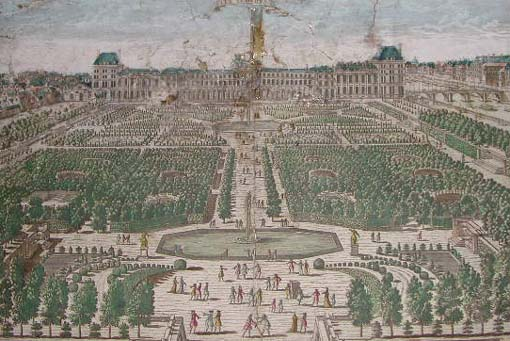 a historic view of the jardin des tuileries when the tuileries palace was still in tact - Jardins Des Tuileries
