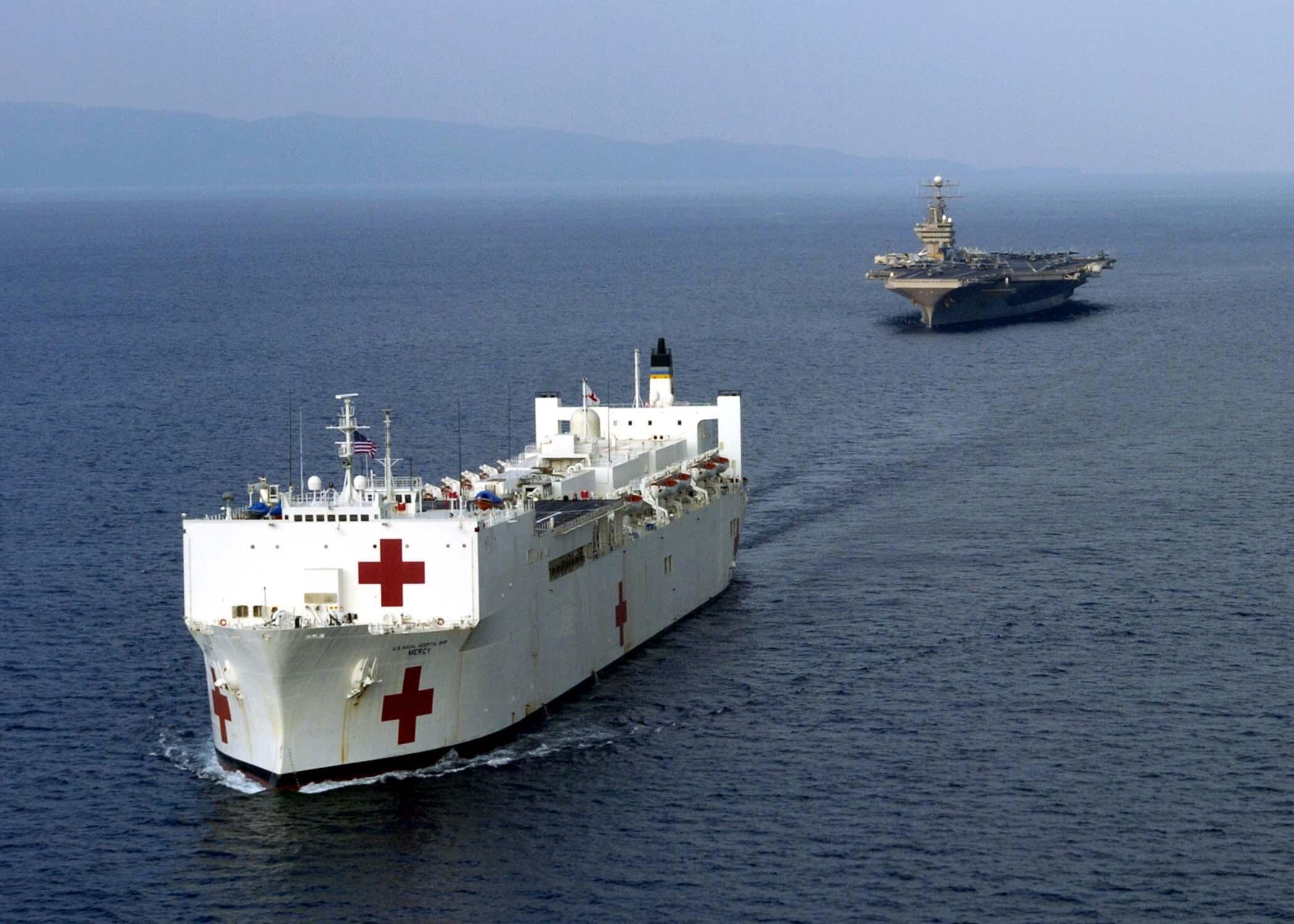 https://upload.wikimedia.org/wikipedia/commons/9/98/US_Navy_050203-N-6020P-137_The_Military_Sealift_Command_%28MSC%29_hospital_ship_USNS_Mercy_%28T-AH_19%29_navigates_alongside_USS_Abraham_Lincoln_%28CVN_72%29_after_arriving_on_station_near_Banda_Aceh%2C_Sumatra%2C_Indonesia.jpg