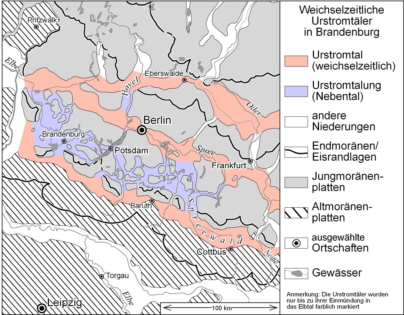 Weichselzeitliche Urstromtäler in Brandenburg