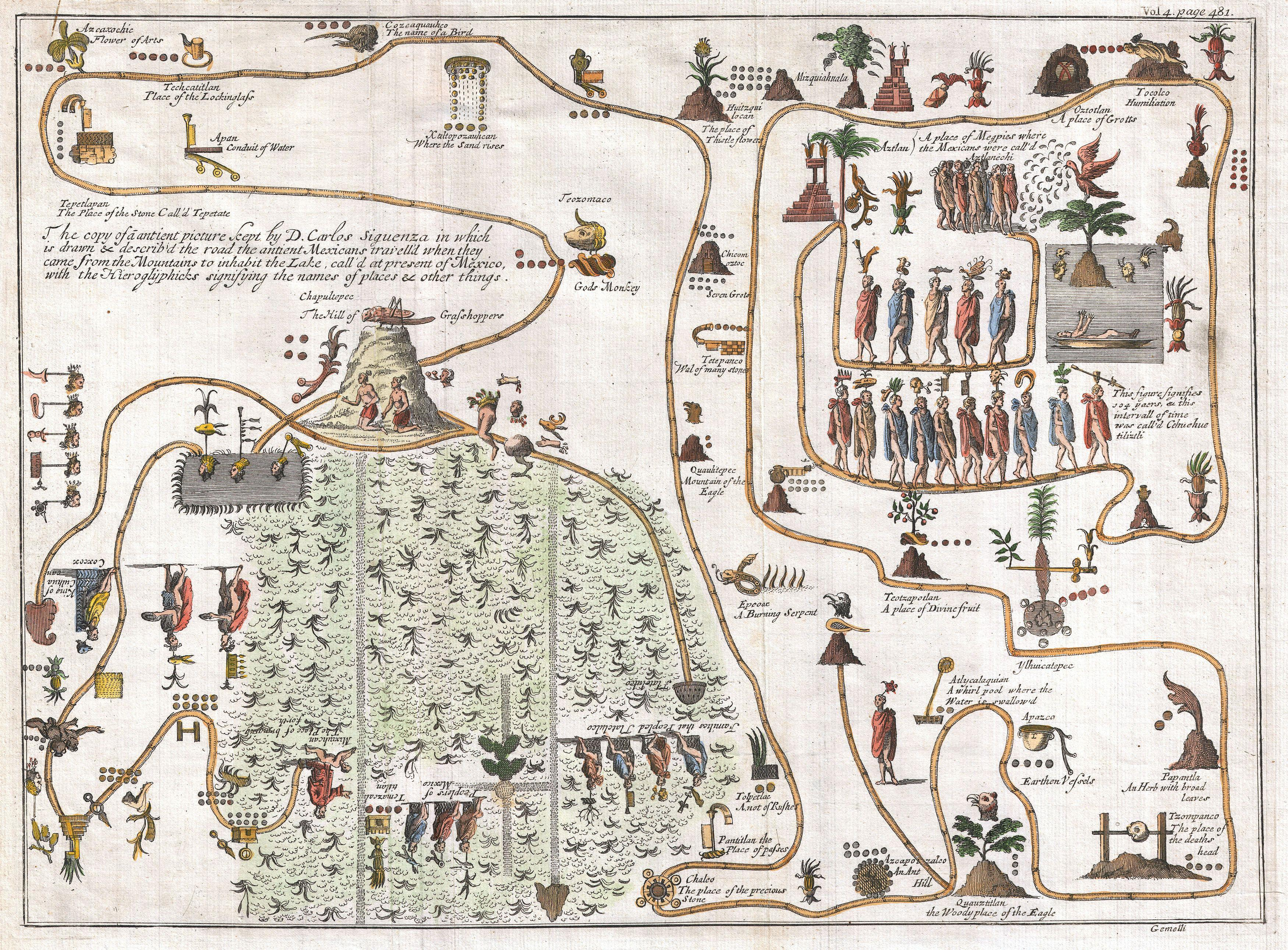 Funny Flow Chart: 1704 Gemelli Map of the Aztec Migration from Aztlan to ,Chart