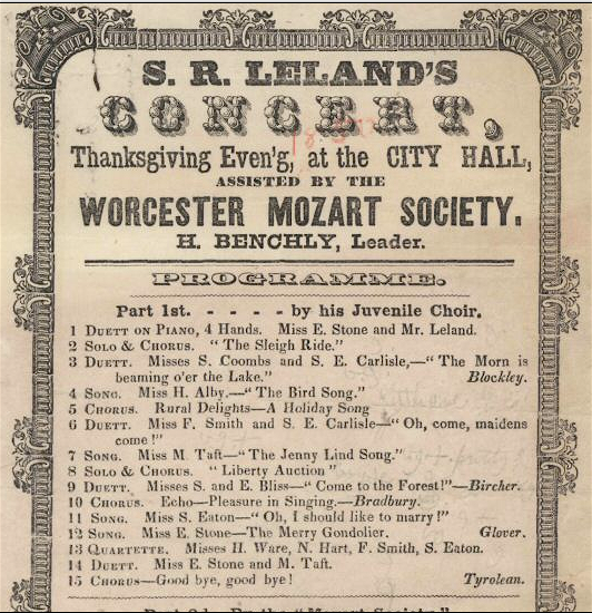 1850 Worcester Mozart Society Thanksgiving Massachusetts