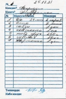 A March 21, 2001, receipt for ''onions, carrot...