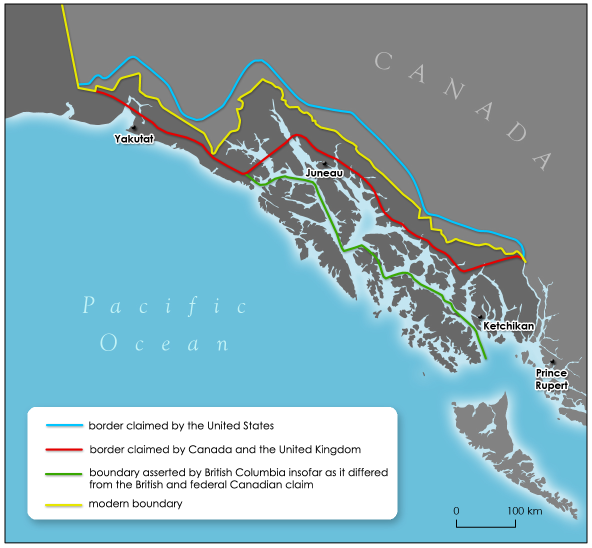 Alaska Boundary Dispute Wikipedia - Map of alaska and canada