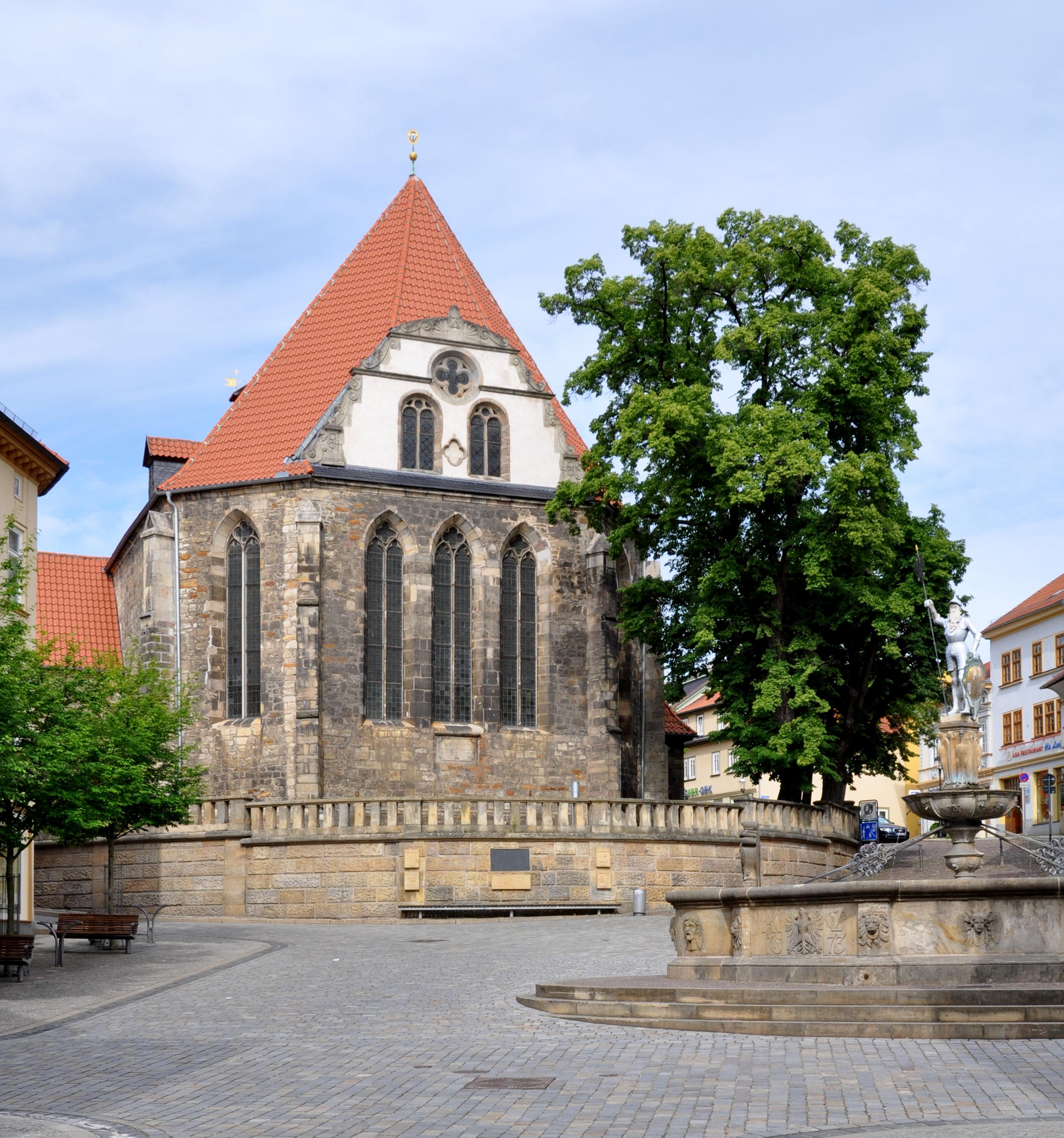 """La iglesia en Arnstadt donde Bach había sido el organista de 1703 a 1707. En 1935 la iglesia fue renombrada a """"Bachkirche""""."""