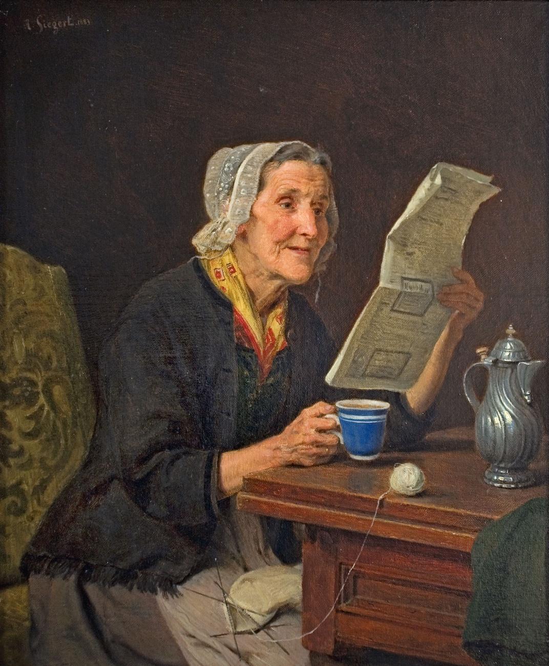 https://upload.wikimedia.org/wikipedia/commons/9/99/August_Friedrich_Siegert_%E2%80%93_Alte_Frau_mit_Zeitung_und_Kaffeetasse_1883.jpg