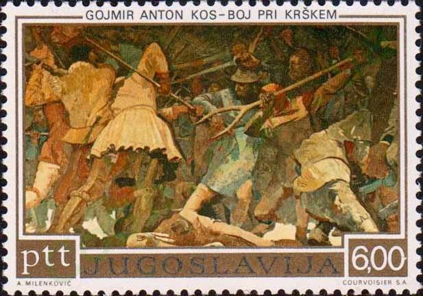 File:Battle of Krsk by Gojmir Anton Kos 1973 Yugoslavia stamp.jpg