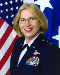 Portrait of woman in US army uniform