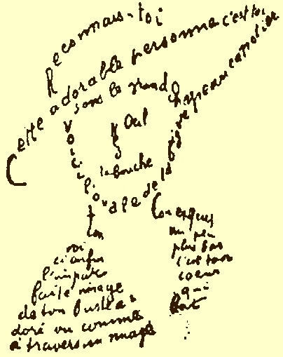 Apollinaires calligramme, 1918. (Source: Wikimedia Commons.)