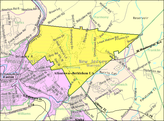 Census Bureau map of Lopatcong Township, New Jersey