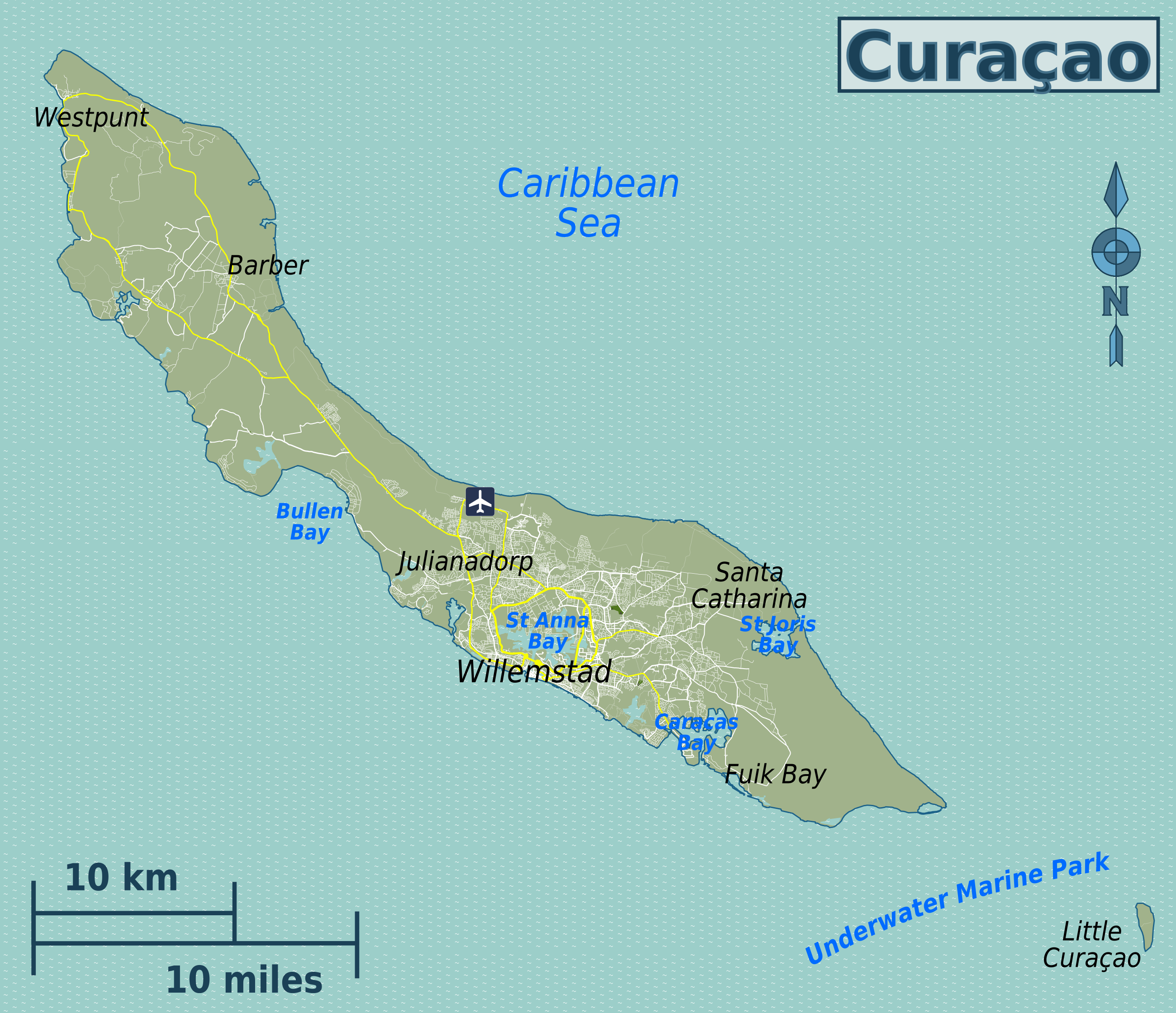 Curacao Island Map