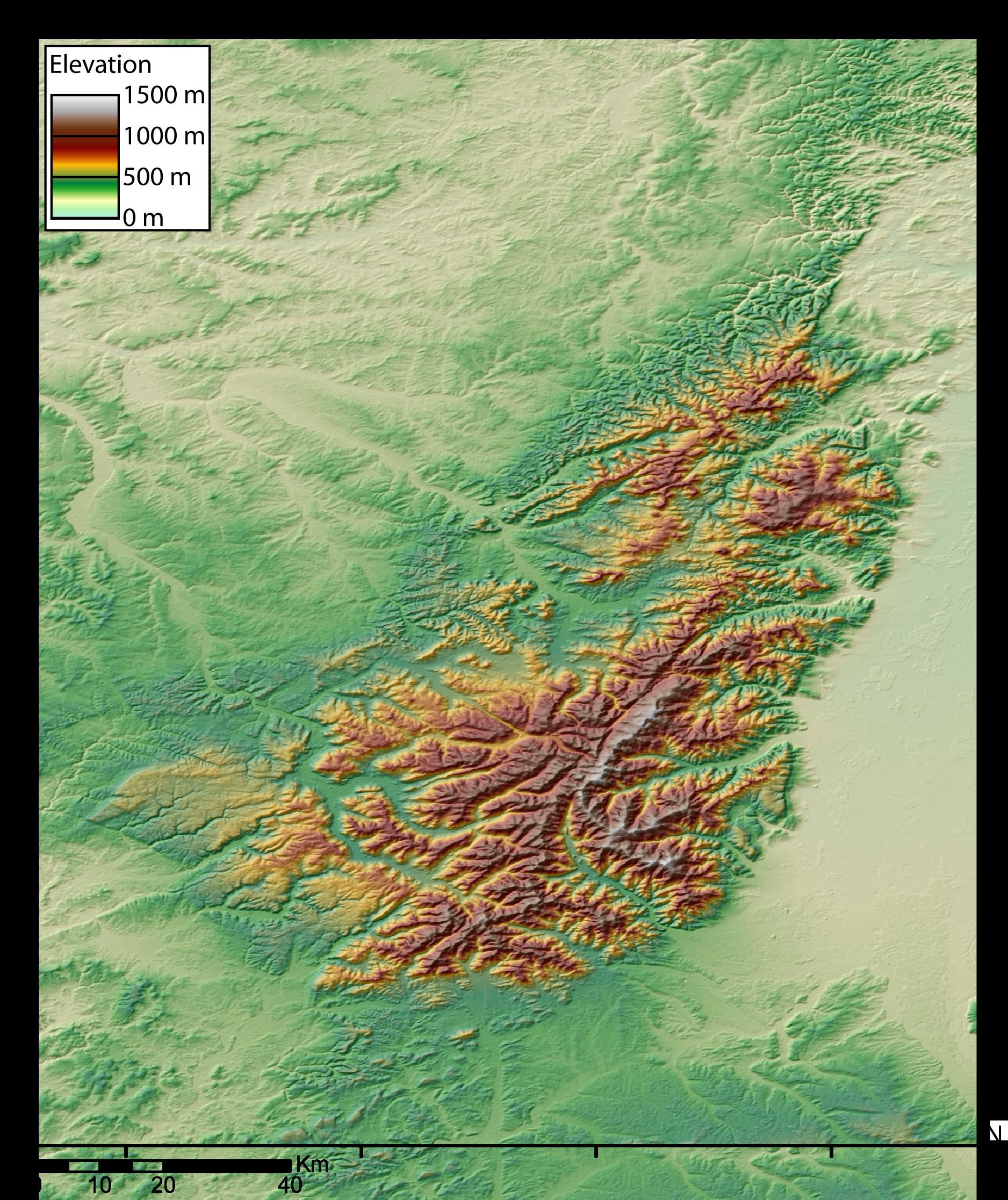 Carte topographique du massif vosgien