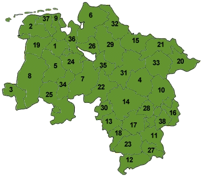 Map of Lower Saxony with the district boundaries