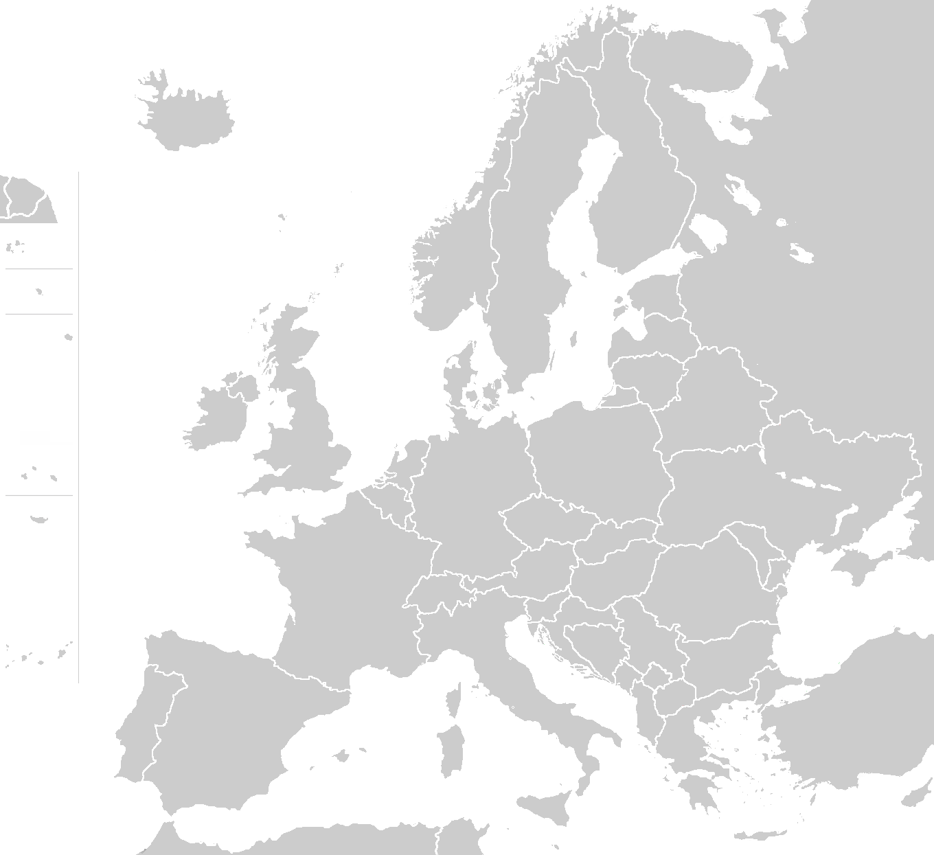 Map of european countries blank