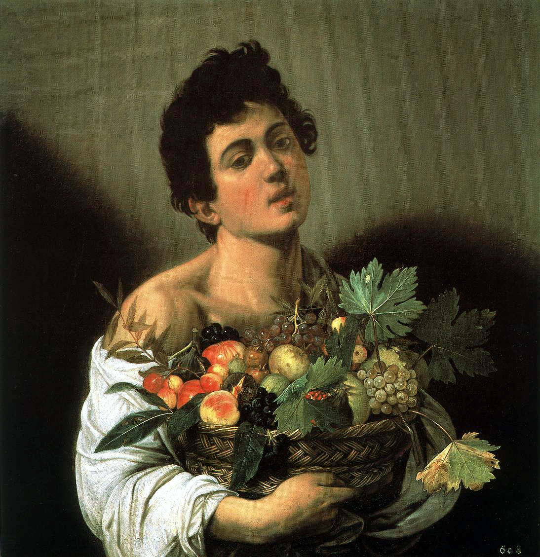 Boy with a Basket of Fruit, c. 1593. Oil on canvas, 67 x 53 cm. Galleria Borghese, Rome.