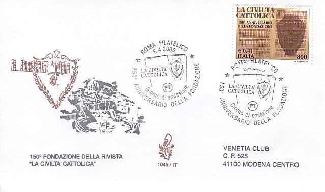 Italian stamp commemorating the 150th anniversary of the ''Civiltà Cattolica''