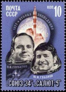 Soviet cosmonauts Yuri Glazkov (right) and Viktor Gorbatko on a USSR postage stamp (1977)Source: Wikipedia Gorbatko_and_Glazkov.jpg