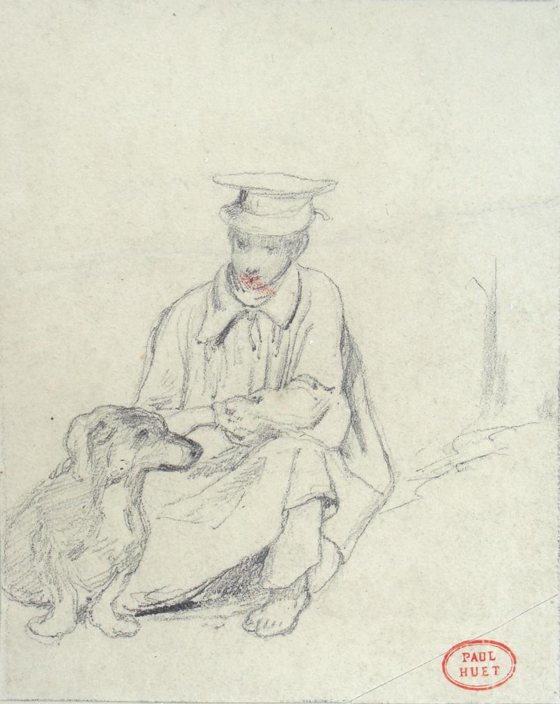 File:Huet Paul attr  - Pencil - Un homme et son chien - 10 1x12 3cm