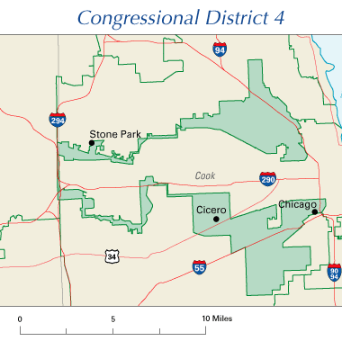Illinois 4th District, a perfect example of gerrymandering