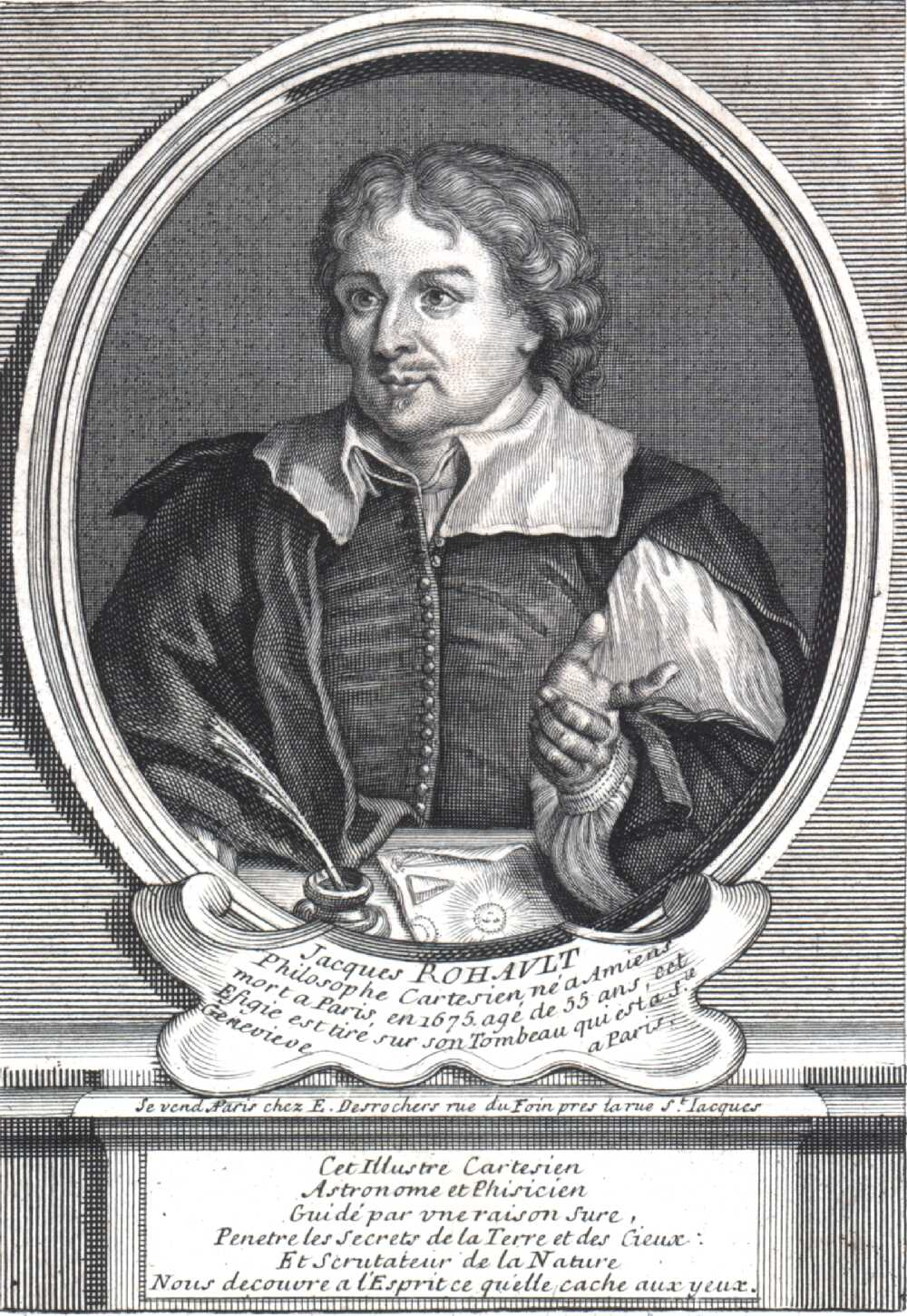 Engraving of French physicist Jacques Rohault