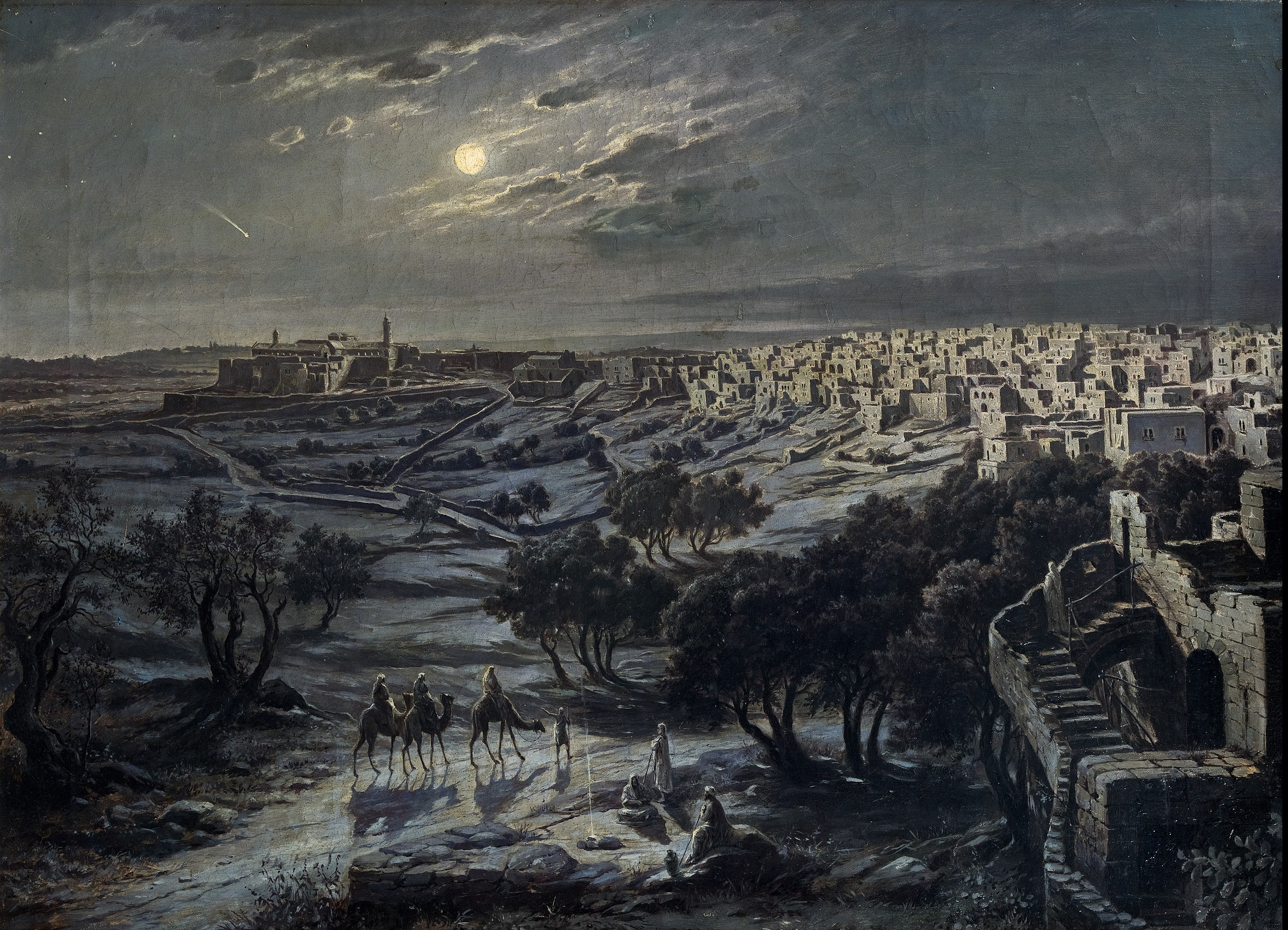 View of Bethlehem at night. Oil on canvas by Josef Langl (1843-1920)