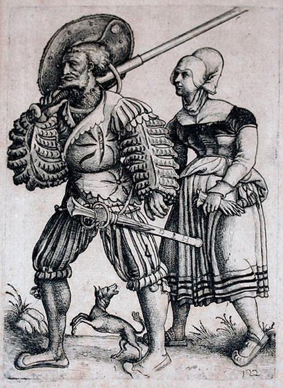 Landsknecht se svou ženou, obouručním mečem na rameni a katzbalgerem po boku