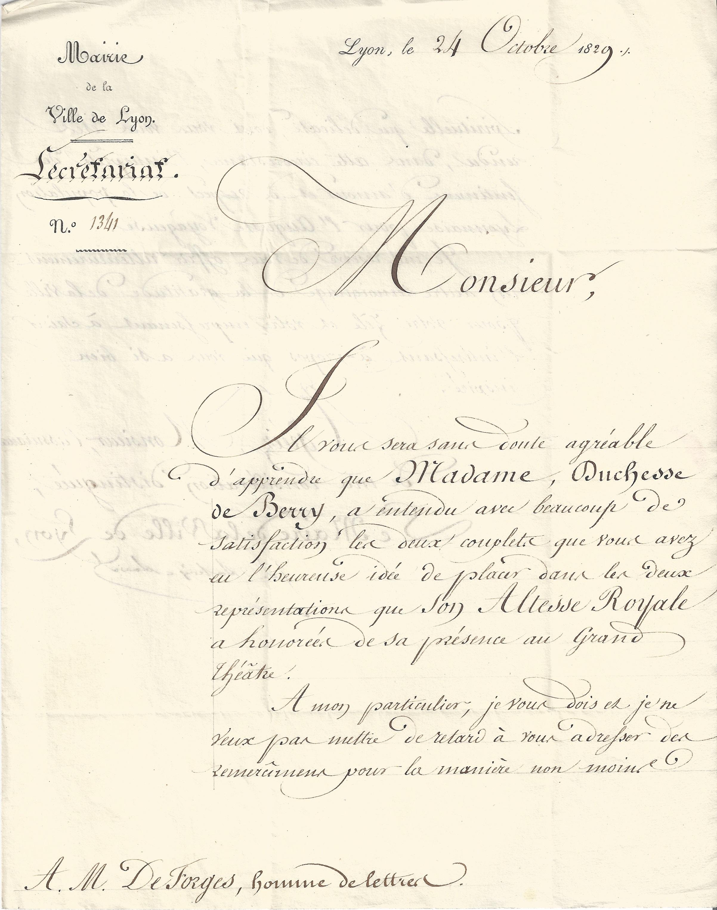 Filelettre Adressée à Monsieur De Forges Homme De Lettre 2