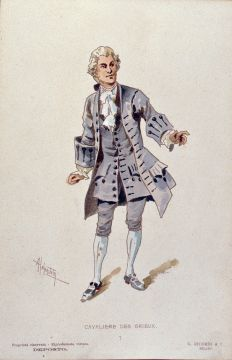 Chevalier des Grieux's costume for act 2, designed by Adolfo Hohenstein for the world premiere Manon Lescaut Costume Des Grieux Act II.jpg