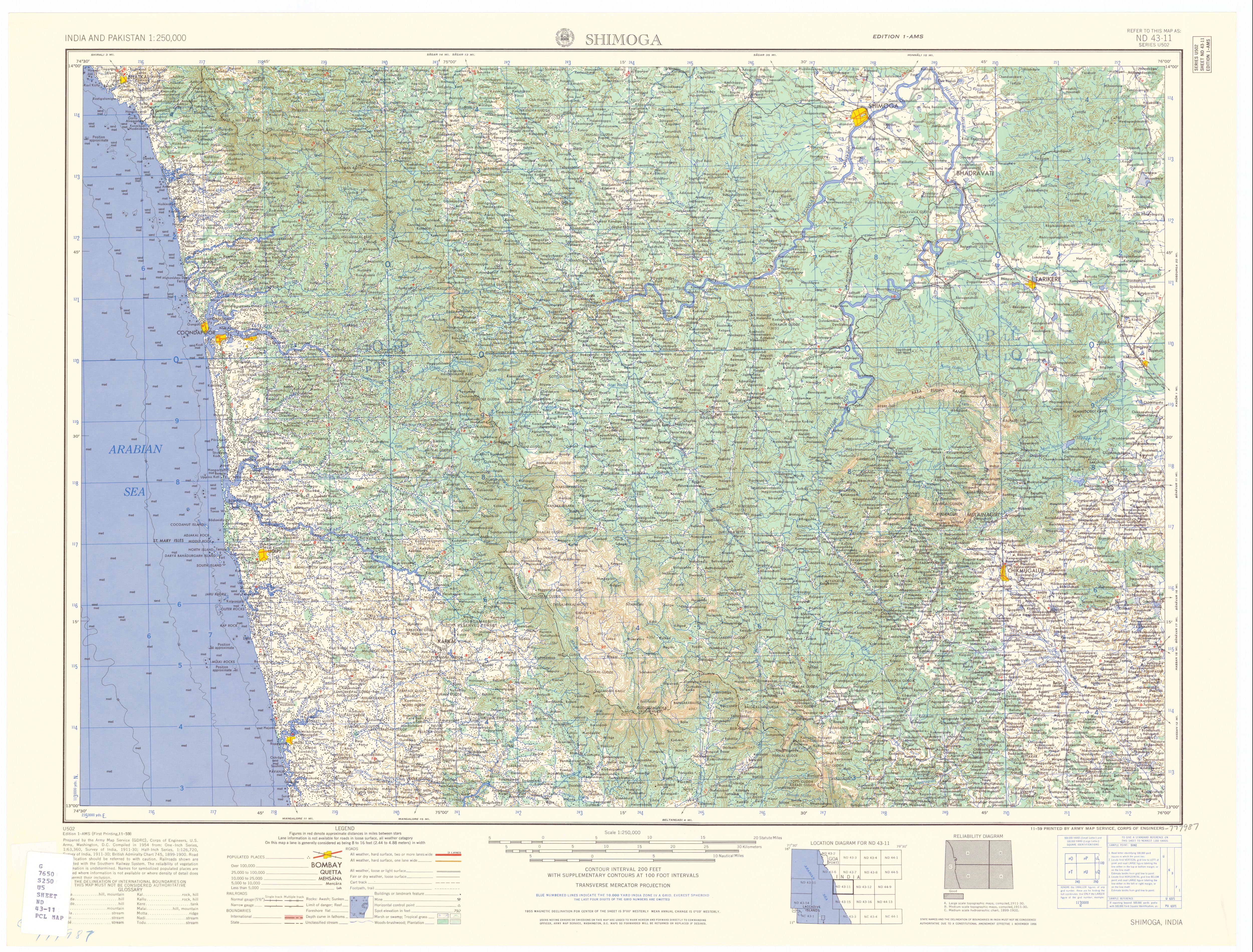 Shimoga India  City new picture : Description Map India and Pakistan 1 250,000 Tile ND 43 11 Shimoga