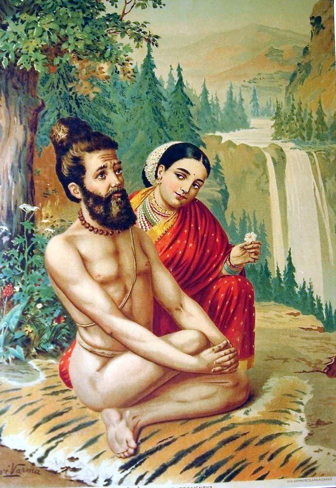 File:Menaka and Vishvamitra, in a painting by Raja Ravi Varma.jpg ...