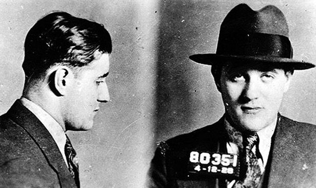 Mug shot of Benjamin Siegel, Jewish-American Mobster, taken by the New York Police Department, 1920s