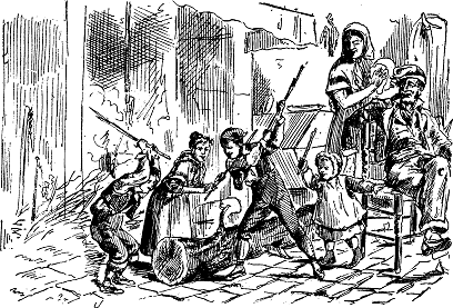 """Niños golpeando al Tió de Nadal para hacerle """"cagar"""" dulces. Fuente Wikipedia Catalana. Viquipèdia in català."""