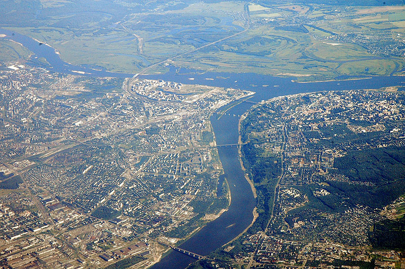 Вид Нижнего Новгорода с самолёта
