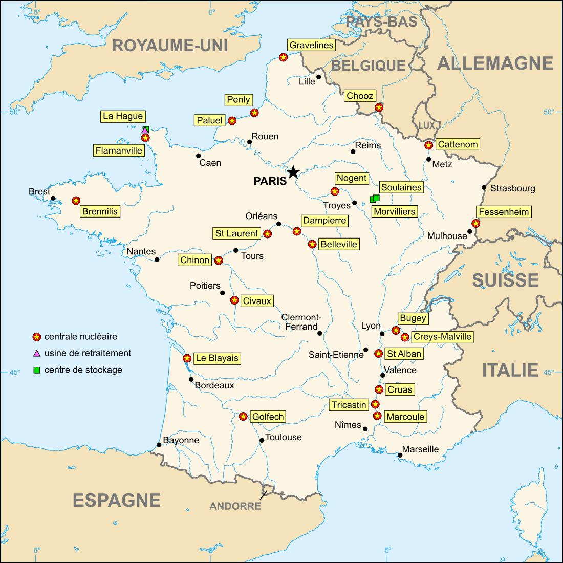 Description nuclear power plants map france fr