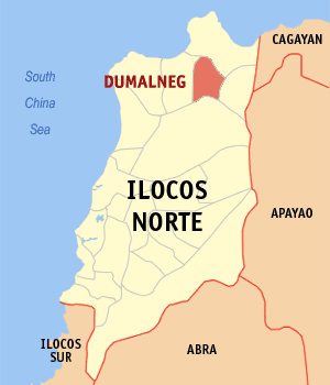 Map of Ilocos Norte showing the location of Dumalneg
