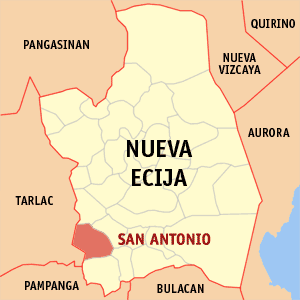 Map of Nueva Ecija showing the location of San Antonio