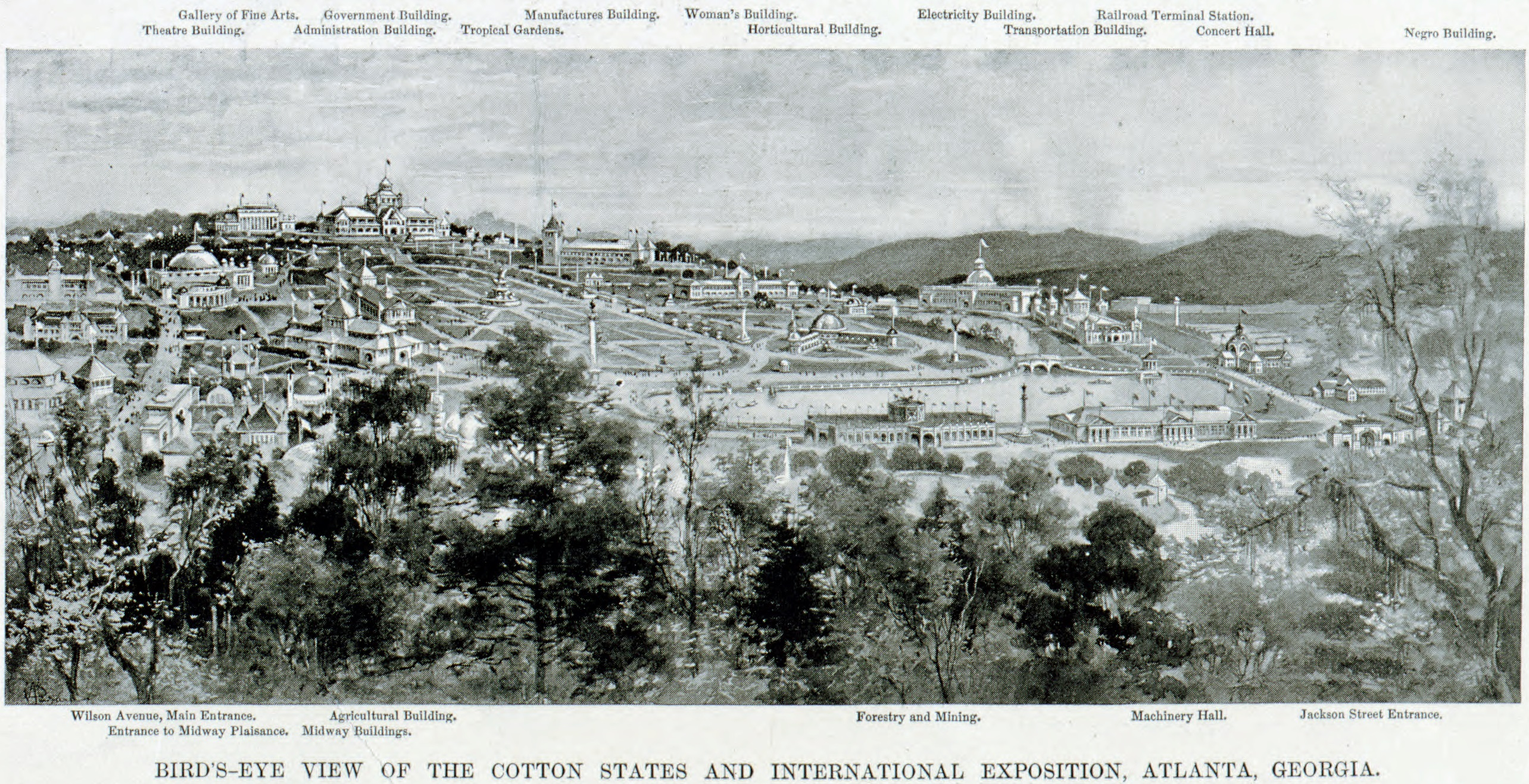 Lithograph Of Piedmont Park Plans For The 1895 Cotton States Exposition In Atlanta GA C1894
